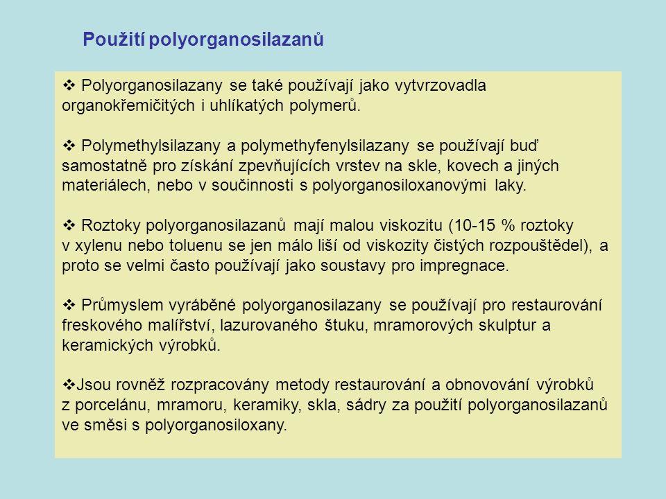 Použití polyorganosilazanů