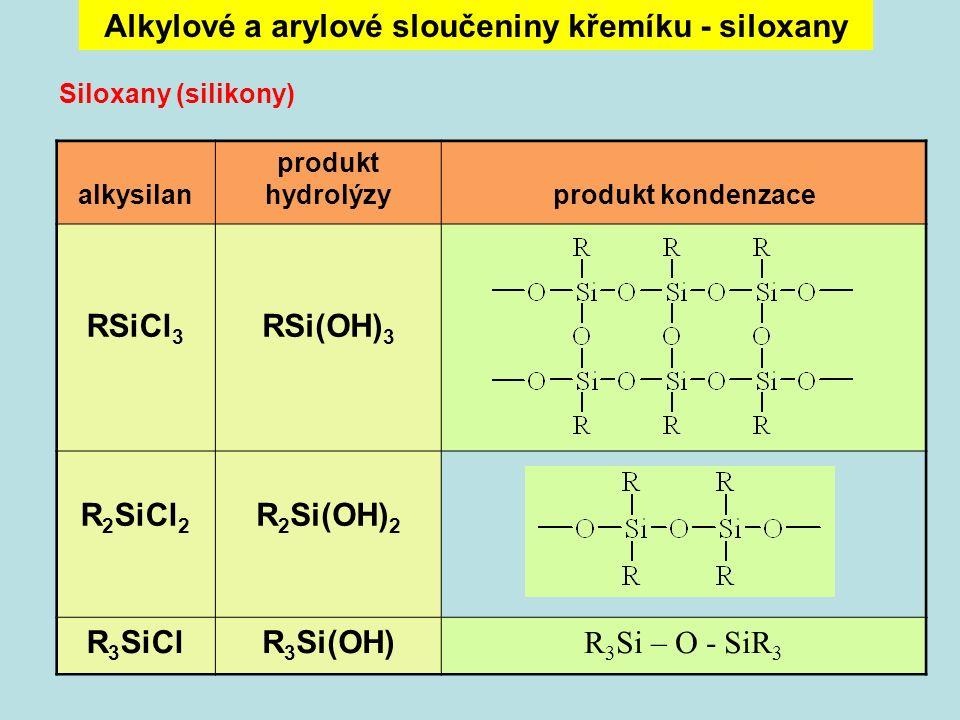 Alkylové a arylové sloučeniny křemíku - siloxany