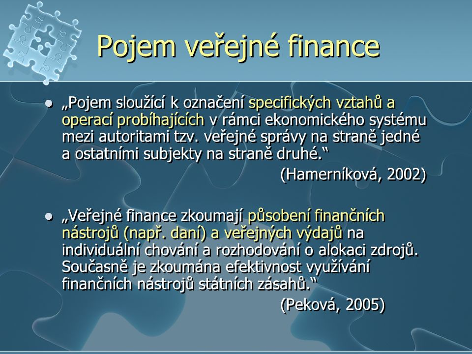 Pojem veřejné finance