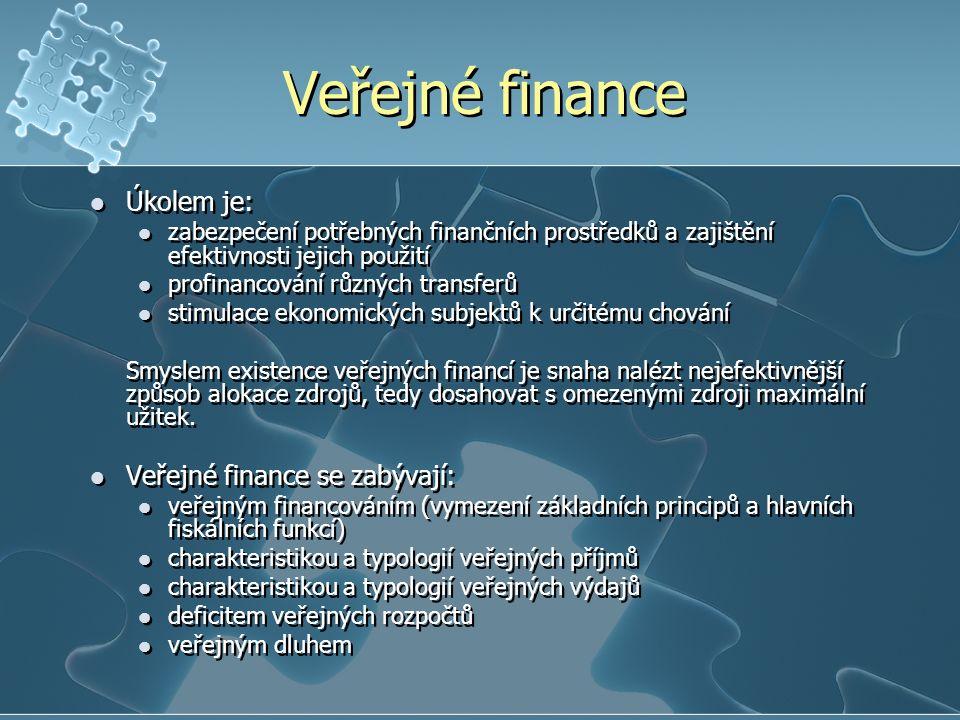 Veřejné finance Úkolem je: Veřejné finance se zabývají: