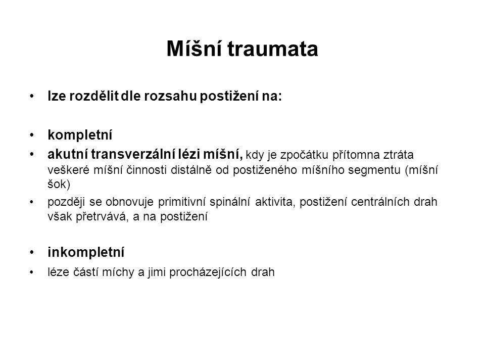 Míšní traumata lze rozdělit dle rozsahu postižení na: kompletní