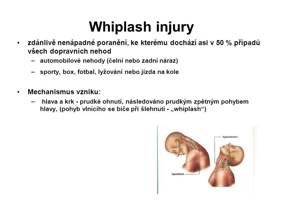 Whiplash injury zdánlivě nenápadné poranění, ke kterému dochází asi v 50 % případů všech dopravních nehod.