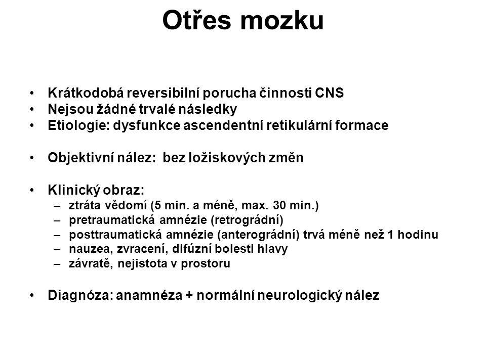 Otřes mozku Krátkodobá reversibilní porucha činnosti CNS