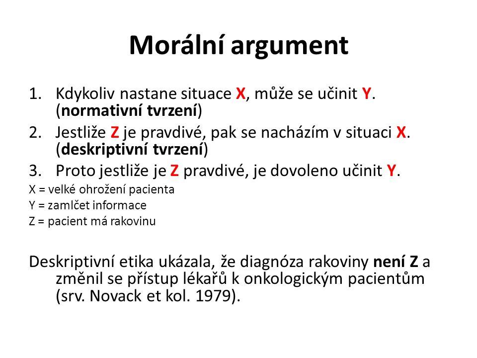 Morální argument Kdykoliv nastane situace X, může se učinit Y. (normativní tvrzení)