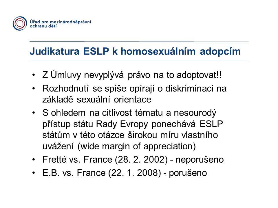 Judikatura ESLP k homosexuálním adopcím