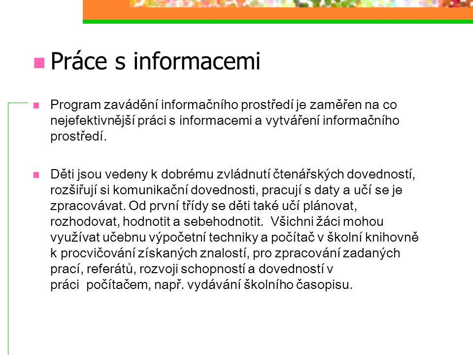Práce s informacemi Program zavádění informačního prostředí je zaměřen na co nejefektivnější práci s informacemi a vytváření informačního prostředí.
