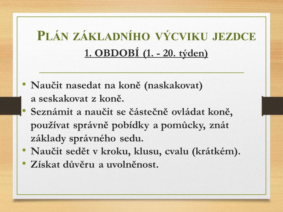 Plán základního výcviku jezdce 1. OBDOBÍ (1. - 20. týden)