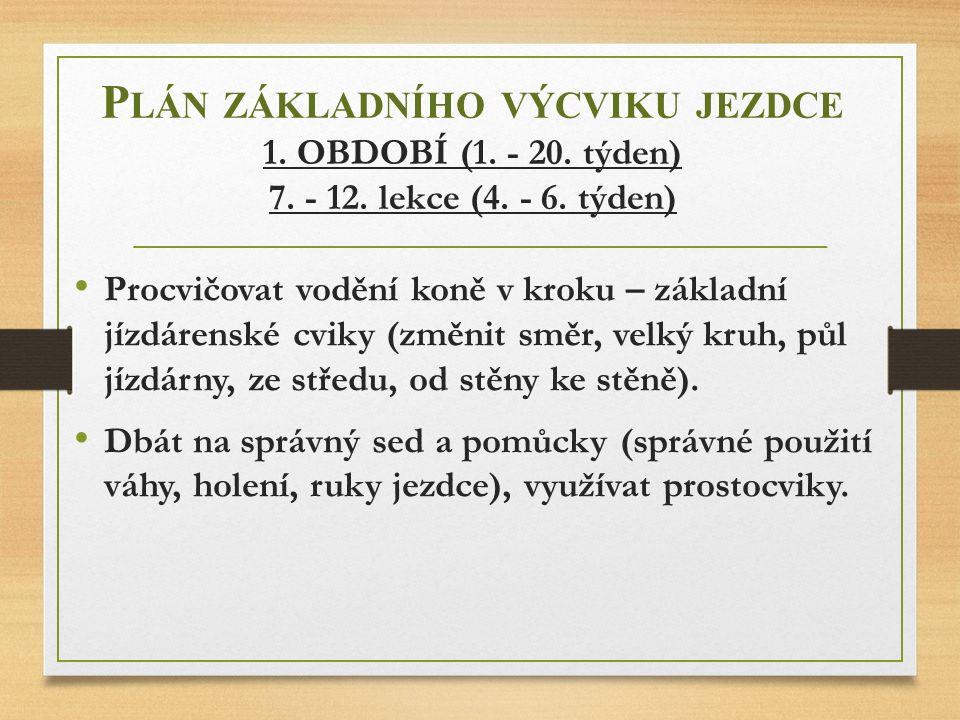 Plán základního výcviku jezdce 1. OBDOBÍ (1. - 20. týden) 7. - 12