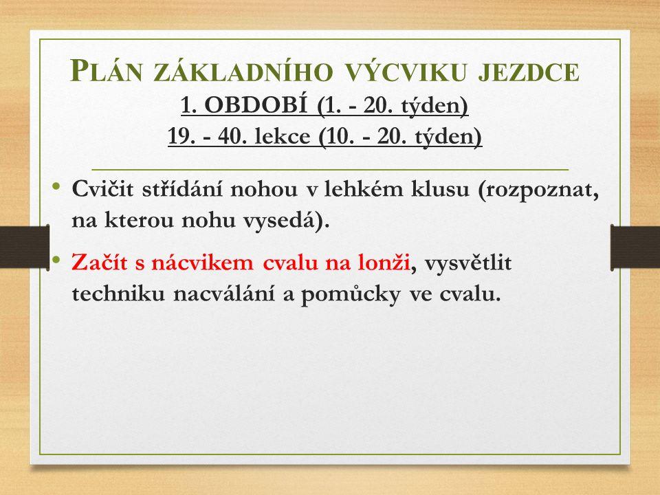 Plán základního výcviku jezdce 1. OBDOBÍ (1. - 20. týden) 19. - 40