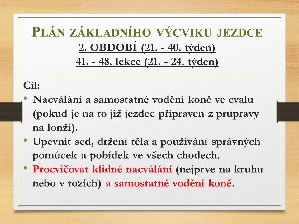 Plán základního výcviku jezdce 2. OBDOBÍ (21. - 40. týden) 41. - 48