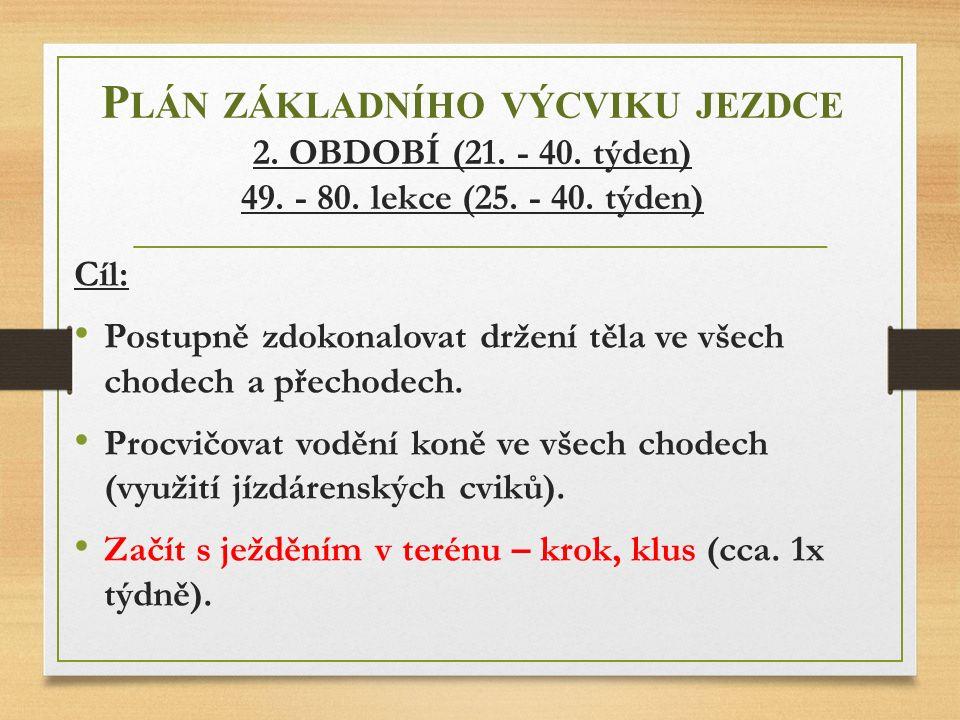 Plán základního výcviku jezdce 2. OBDOBÍ (21. - 40. týden) 49. - 80
