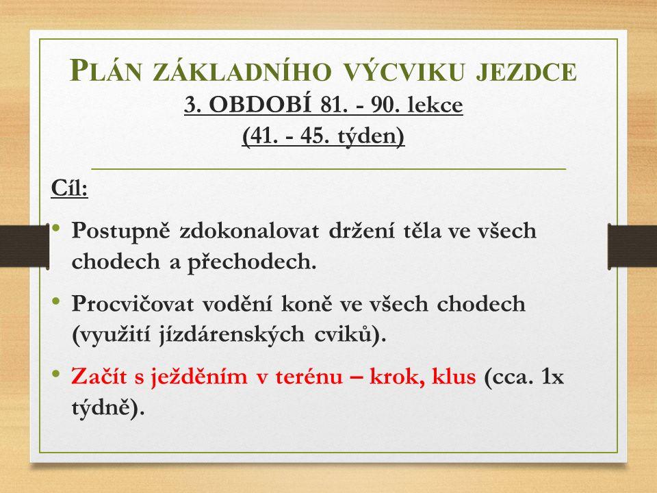 Plán základního výcviku jezdce 3. OBDOBÍ 81. - 90. lekce (41. - 45