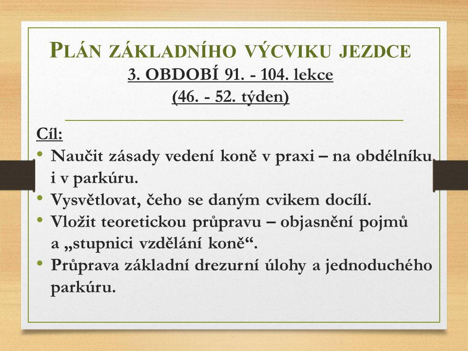 Plán základního výcviku jezdce 3. OBDOBÍ 91. - 104. lekce (46. - 52