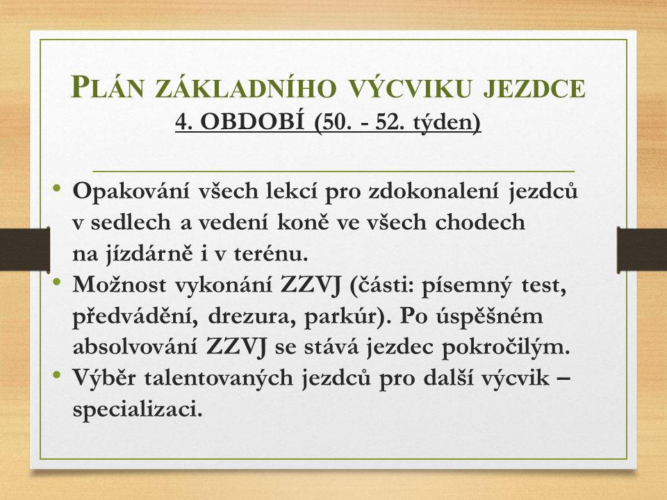 Plán základního výcviku jezdce 4. OBDOBÍ (50. - 52. týden)