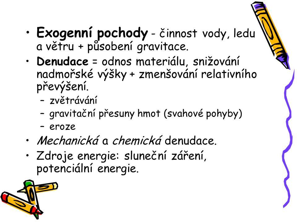 Exogenní pochody - činnost vody, ledu a větru + působení gravitace.