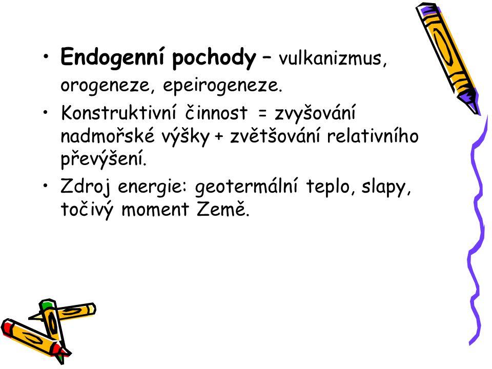 Endogenní pochody – vulkanizmus, orogeneze, epeirogeneze.