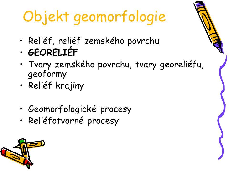 Objekt geomorfologie Reliéf, reliéf zemského povrchu GEORELIÉF