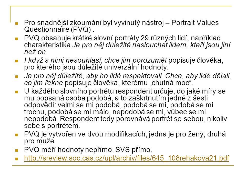 Pro snadnější zkoumání byl vyvinutý nástroj – Portrait Values Questionnaire (PVQ) .