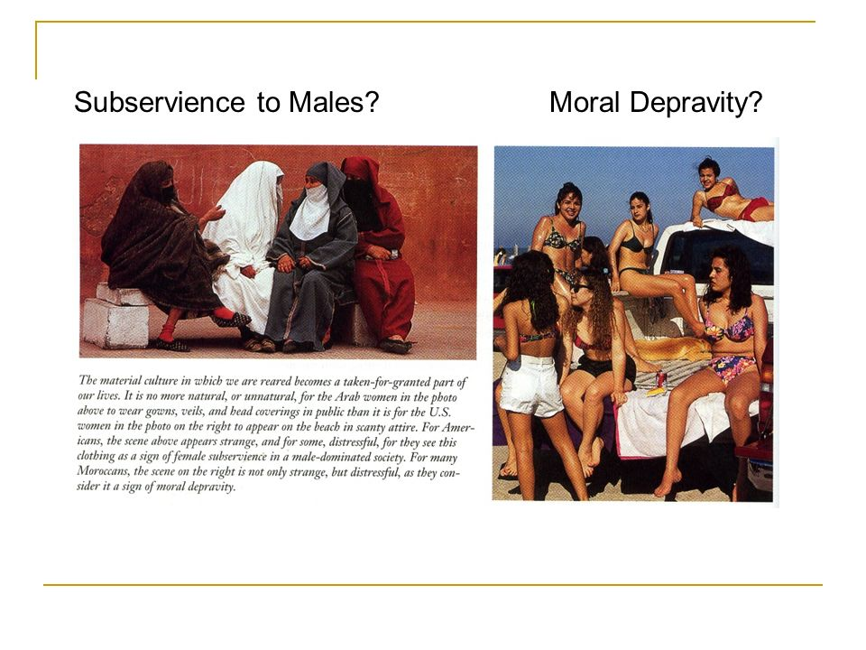 Subservience to Males Moral Depravity