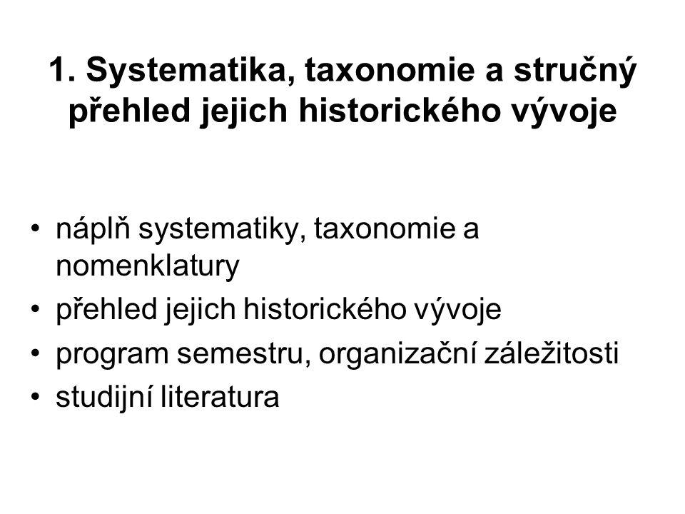 1. Systematika, taxonomie a stručný přehled jejich historického vývoje