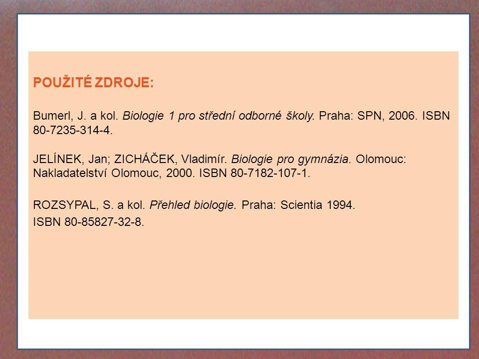 POUŽITÉ ZDROJE: Bumerl, J. a kol. Biologie 1 pro střední odborné školy. Praha: SPN, 2006. ISBN 80-7235-314-4.