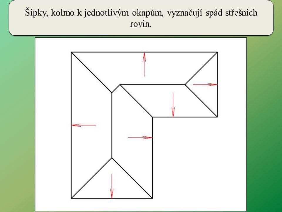 Šipky, kolmo k jednotlivým okapům, vyznačují spád střešních rovin.
