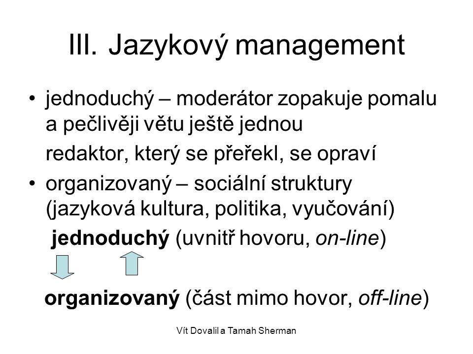 III. Jazykový management