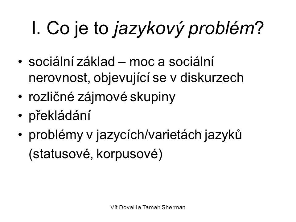I. Co je to jazykový problém