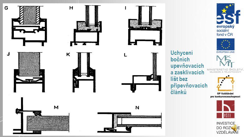 Uchycení bočních upevňovacích a zasklívacích lišt bez připevňovacích článků