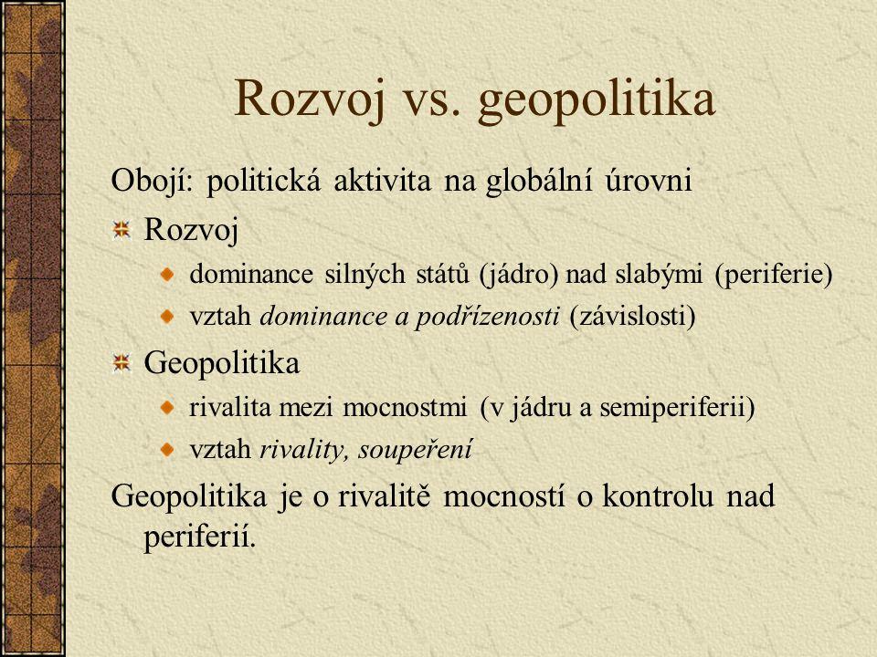 Rozvoj vs. geopolitika Obojí: politická aktivita na globální úrovni
