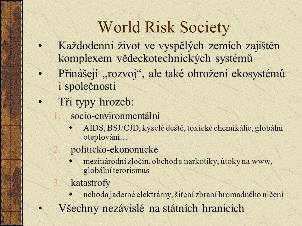 World Risk Society Každodenní život ve vyspělých zemích zajištěn komplexem vědeckotechnických systémů.