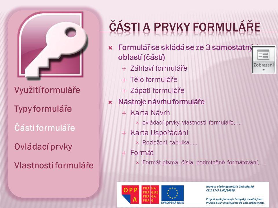 části a prvky formuláře