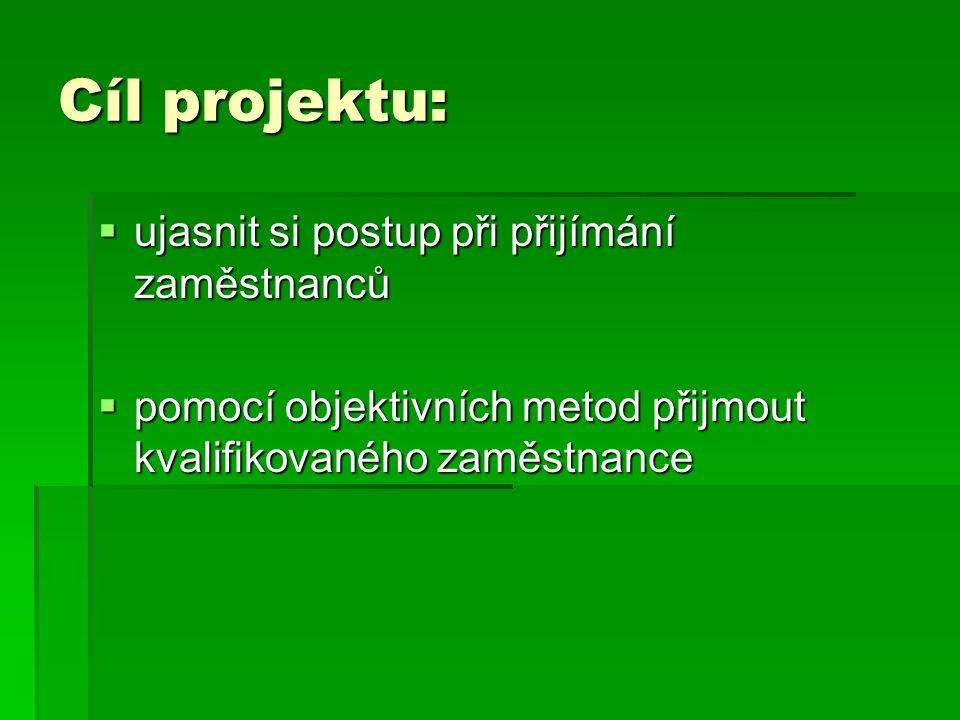 Cíl projektu: ujasnit si postup při přijímání zaměstnanců
