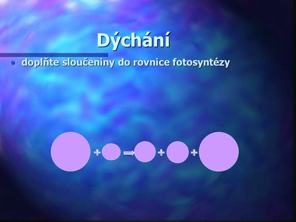 Dýchání doplňte sloučeniny do rovnice fotosyntézy C6H12O6 6O2 6CO2