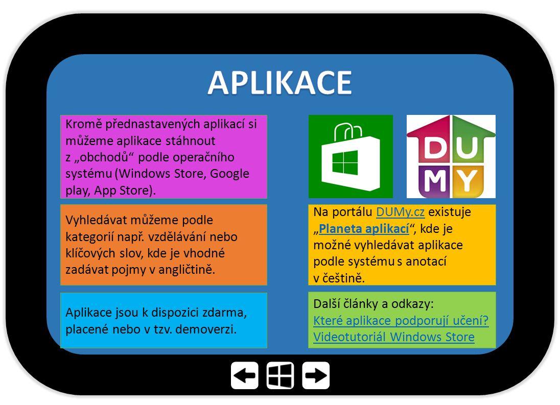 APLIKACE Kromě přednastavených aplikací si můžeme aplikace stáhnout