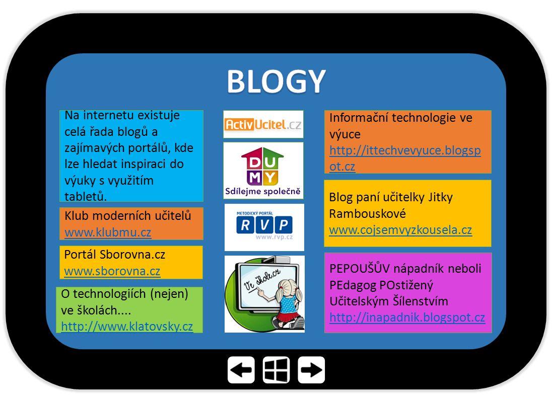 BLOGY Na internetu existuje celá řada blogů a zajímavých portálů, kde lze hledat inspiraci do výuky s využitím tabletů.