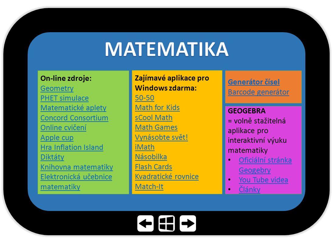 MATEMATIKA On-line zdroje: Geometry PHET simulace Matematické aplety