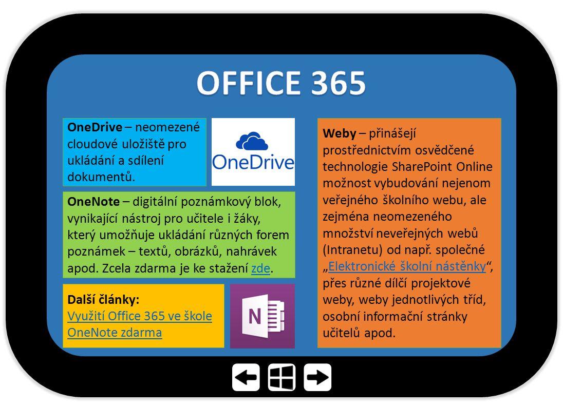 OFFICE 365 OneDrive – neomezené cloudové uložiště pro ukládání a sdílení dokumentů.