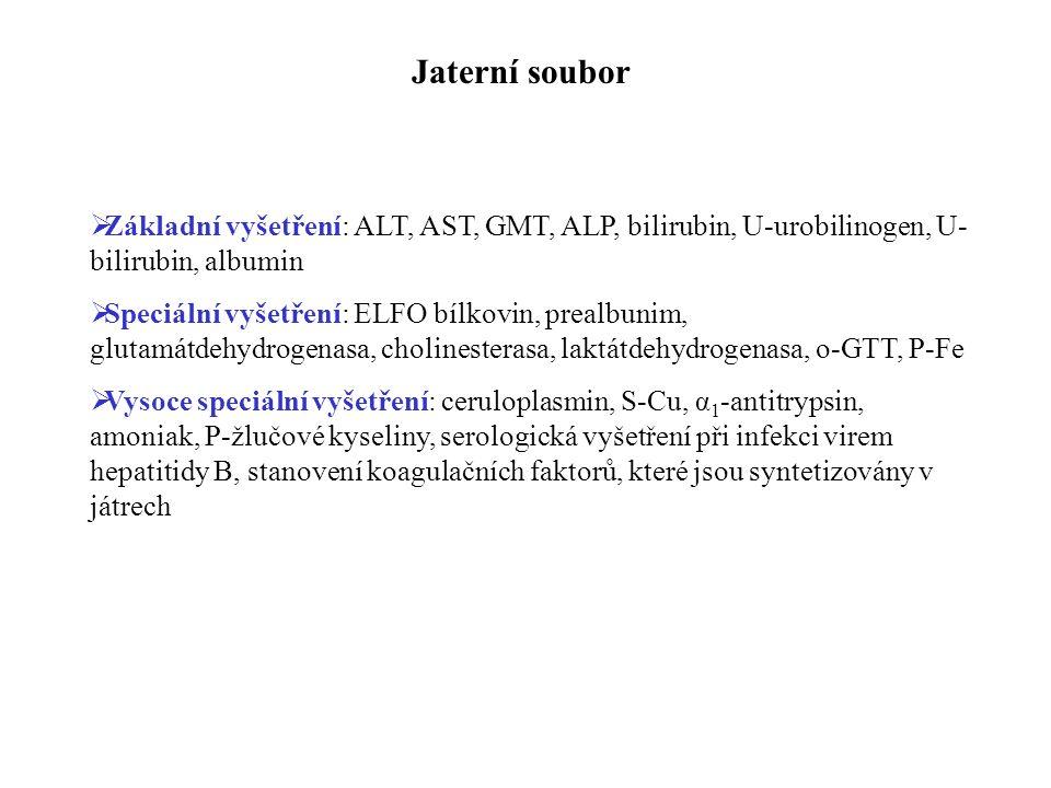 Jaterní soubor Základní vyšetření: ALT, AST, GMT, ALP, bilirubin, U-urobilinogen, U-bilirubin, albumin.