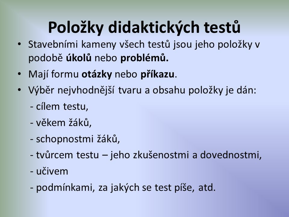 Položky didaktických testů