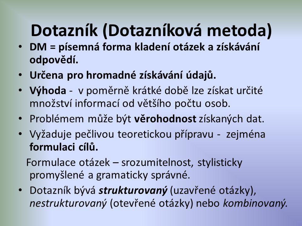 Dotazník (Dotazníková metoda)