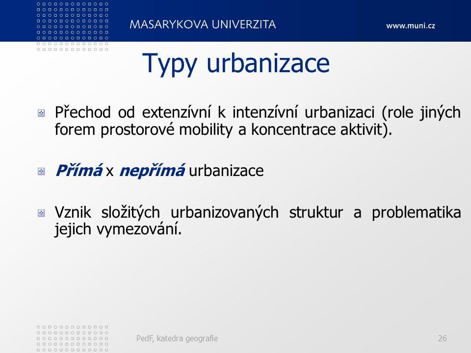 Typy urbanizace Přechod od extenzívní k intenzívní urbanizaci (role jiných forem prostorové mobility a koncentrace aktivit).