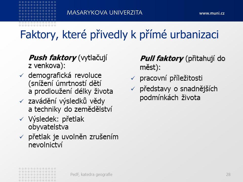 Faktory, které přivedly k přímé urbanizaci