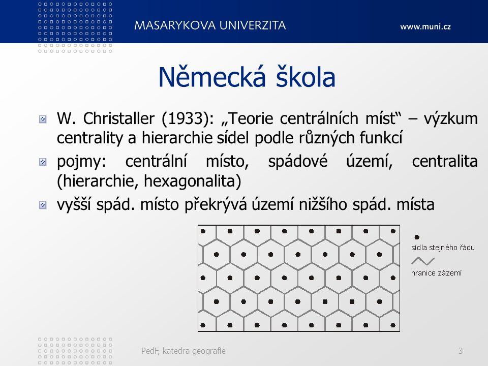 """Německá škola W. Christaller (1933): """"Teorie centrálních míst – výzkum centrality a hierarchie sídel podle různých funkcí."""