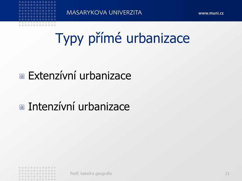 Typy přímé urbanizace Extenzívní urbanizace Intenzívní urbanizace
