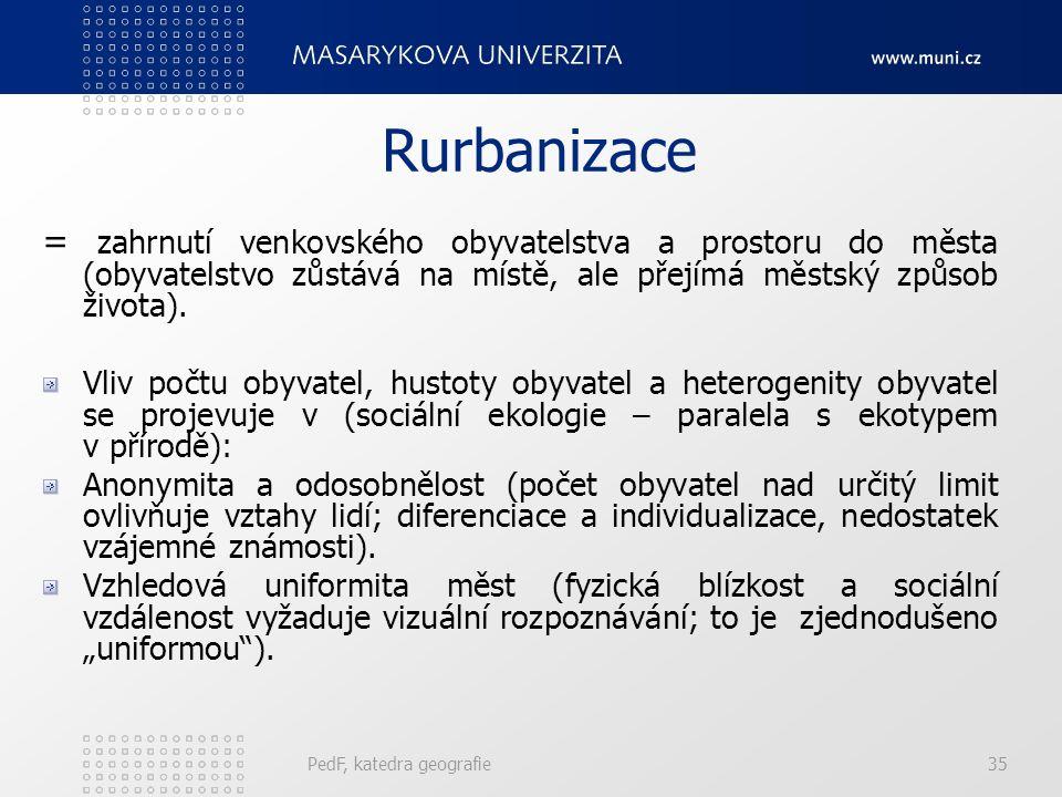 Rurbanizace = zahrnutí venkovského obyvatelstva a prostoru do města (obyvatelstvo zůstává na místě, ale přejímá městský způsob života).