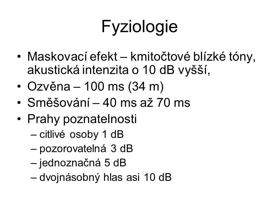 Fyziologie Maskovací efekt – kmitočtové blízké tóny, akustická intenzita o 10 dB vyšší, Ozvěna – 100 ms (34 m)