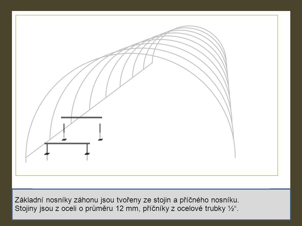 Základní nosníky záhonu jsou tvořeny ze stojin a příčného nosníku.