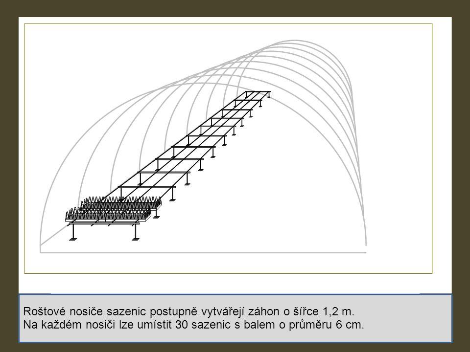 Roštové nosiče sazenic postupně vytvářejí záhon o šířce 1,2 m.