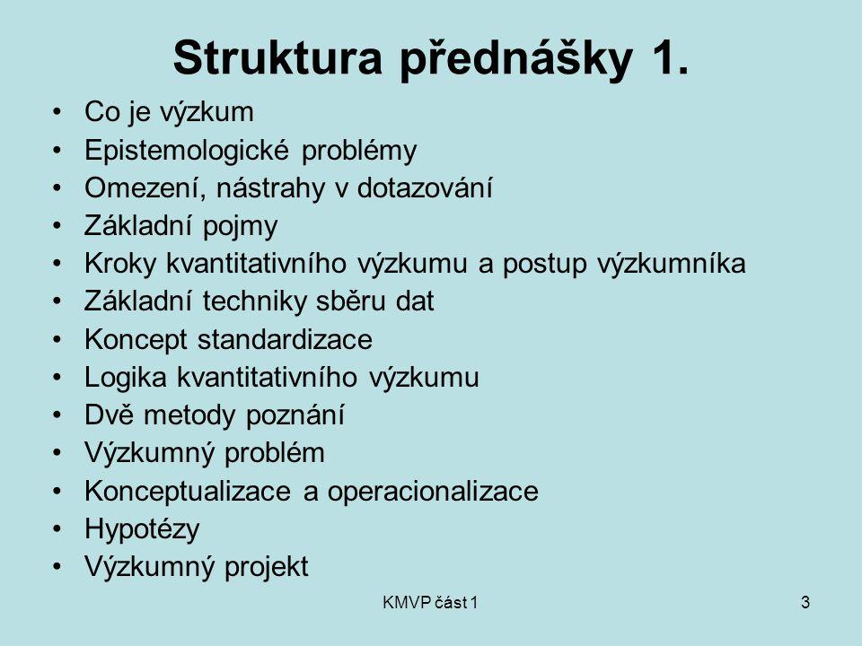 Struktura přednášky 1. Co je výzkum Epistemologické problémy